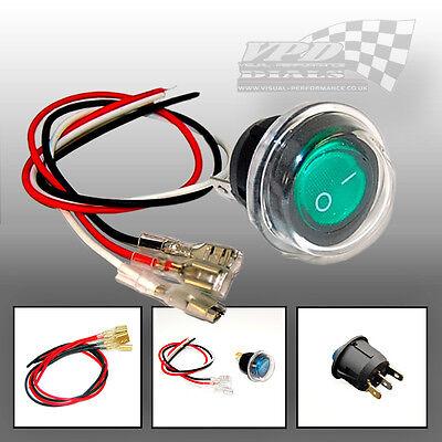 Bulb switch LED Illuminated Rocker switch ON//OFF 12v Blue dash panel wire