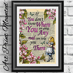 Dictionary Art Book Page Mounted Alice In Wonderland Quote Flowers
