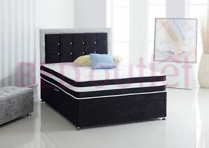 best website 57c11 4f502 Details about 3FT Soul Glitter Diamante Crushed Velvet Single Bed +  Headboard + Roma Mattress
