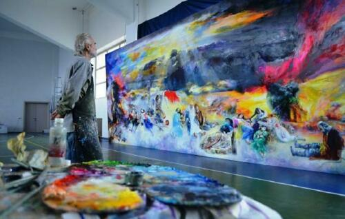 Gemälde Ölbild Bild Ölbilder Rahmen Bilder Seefahrt Schiffe Meer Ölgemälde 03311