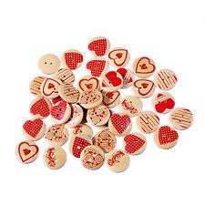 50PCS 20mm Botones de madera corazón patrón de 2 agujeros costura Scrapbooking
