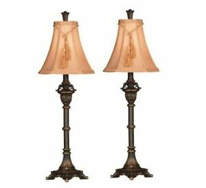 Vintage Antique Tall Metallic Bronze Buffet Table Lamp Set
