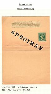 SIERRA LEONE-1898 ½d Postal Stationery wrapper SPECIMEN H &G1 -Only 750 printed