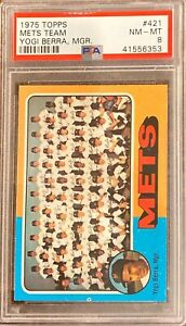 1975-Topps-PSA-8-NY-Mets-Team-Yogi-Berra-MGR-Great-color-Beautiful-Card