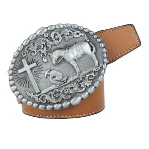 Cintura-Con-Fibbia-Ovale-Vintage-Cavaliere-Cavallo-Croce-Occidentale-Unisex