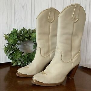 Vintage-Women-s-Leather-Zodiac-Boots-Cream-With-Gold-Toe-Accents-Size-8M