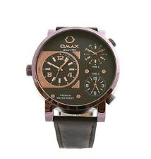 Omax Men's Retro Designer Triple Time Rose Gold Dial Brown Leather Strap Watch