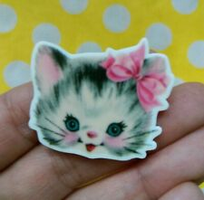ba6e906353630 Uhren   Schmuck Vintage Floral Print Style CAT Retro Kitsch Quirky Cute  Acrylic Pin Badge Brooch