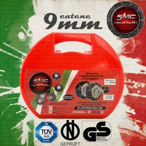 CATENE DA NEVE OMOLOGATE SMC 9mm 195 55 R 16 Ö-Norm 5117 TÜV GR80 CON VALIGETTA