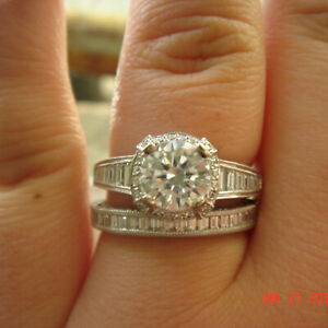 2.88 Ct Round Real Moissanite Engagement Band Set Solid 18K White Gold Size 5 6