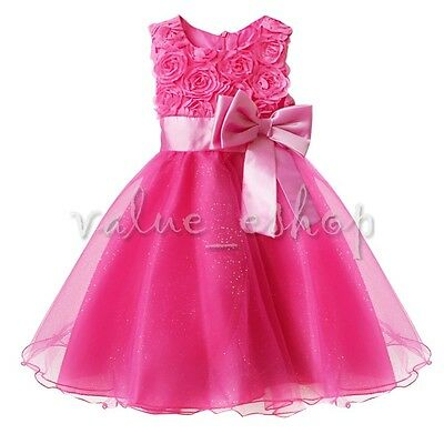 Flower Girl Princess Bow Dress Toddler Baby Wedding Party Pageant Tulle Dress Up