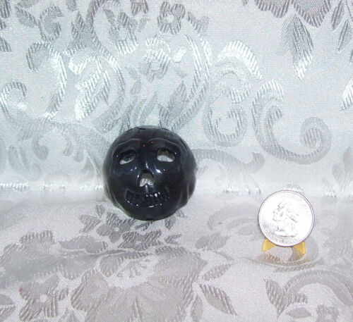 1//6 SCALE FASHION DOLL SIZE TRICK OR TREAT PUSH ON BLACK SCARY RUBBER MASK
