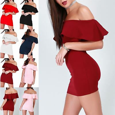 Womens Off Shoulder Peplum Ruffle Frill Bandage Bardot Bodycon Pencil Mini Dress