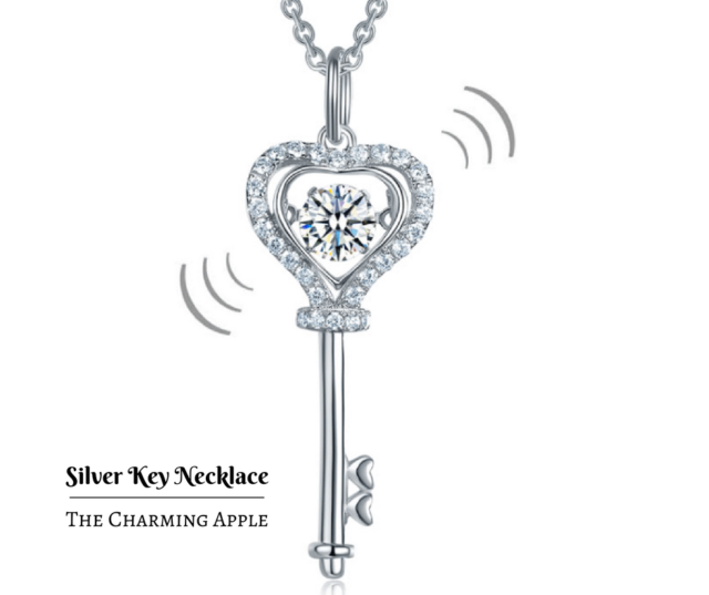 Sterling Silver Dancing Heart Stone Key Necklace_Cubic Zirconia_Gift_SALE