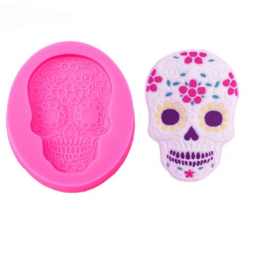 New Novelty Baking Silicone Fondant Mold Flower Skull Shape Halloween Cookie