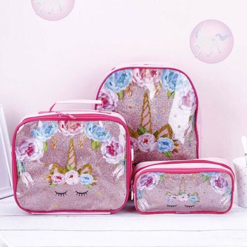 3pcs//Set Womens Girls Unicorn Backpack Lunch Bag Pencil Pen Bags Rucksack Gifts
