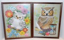 Vtg K Chin Owl Art Print Framed Picture Snow Barn Owl 1960s Flower Power