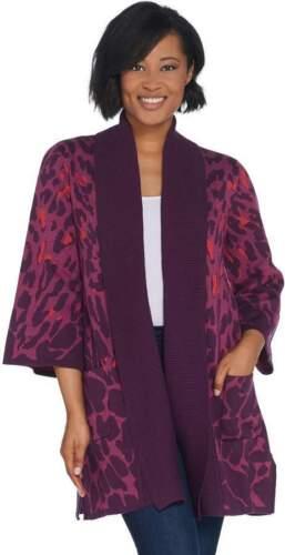 Isaac Mizrahi Berry Animal Leopard Jacquard 3//4 Sleeve Cardigan Sweater New