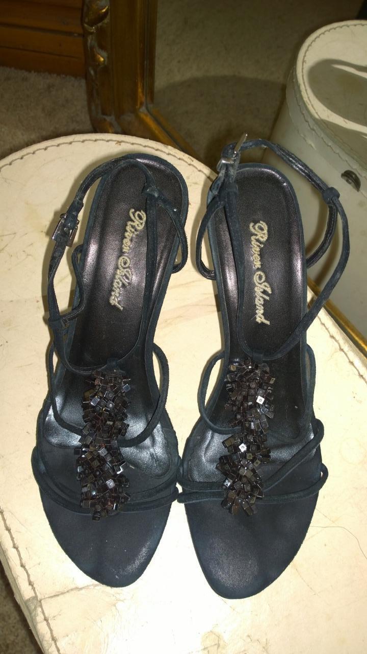 Elegant Black Suede River Island Jewelled Slingback Sandals Size 6