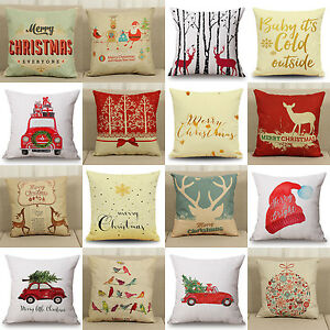 Christmas-Cotton-Linen-Pillow-Case-Cushion-Cover-Sofa-Home-Bed-Car-Decor-18x18-039-039