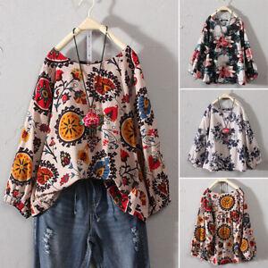 Womens-Casual-Plus-Size-Cotton-Tops-T-Shirt-Vintage-Boho-Floral-Loose-Blouse-P