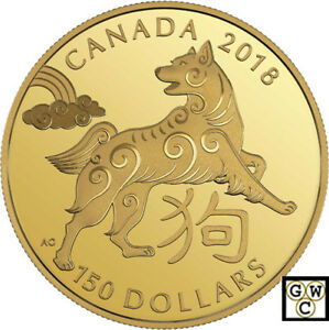 2018-Gold-18K-039-Year-of-the-Dog-039-150-Proof-18K-Gold-Coin-18228