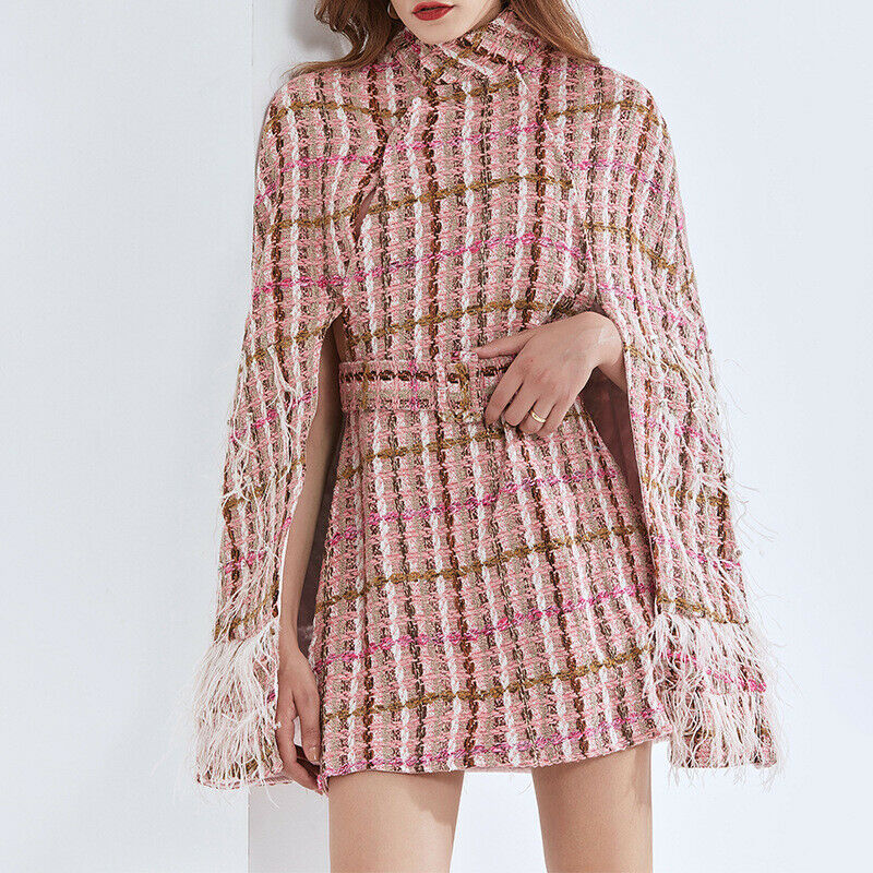 2020 Women's Designer Inspired Faux Fur Tweed Pink Cape Style Coat Mixed Jacket