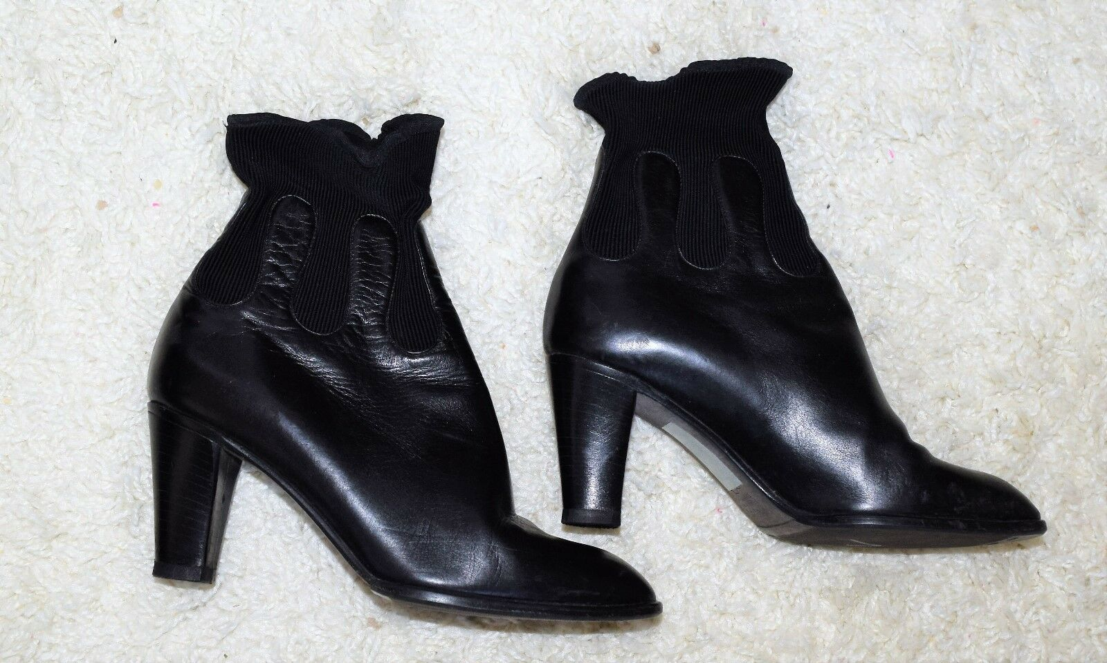 VERO STUDIO SOFIA Black Leather Ankle Boots Made in  Womens Size 36
