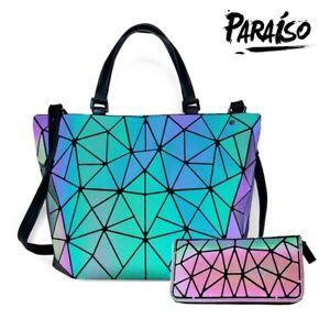Luminous-Women-Geometric-laser-Tote-Shoulder-Bags-Laser-Plain-Folding-Handbags