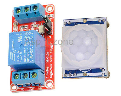 HC-SR501 PIR Sensor+5V 1-Channel Relay Module Optocoupler H/L Level Triger