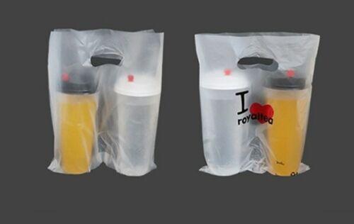 1000 Double Pouches Plastic Bags Bubble Tea Coffee Transparent To Go Carrier