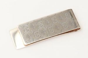 Gucci-925-sterling-silver-metal-GG-bee-motif-embossed-money-clip-holder-220