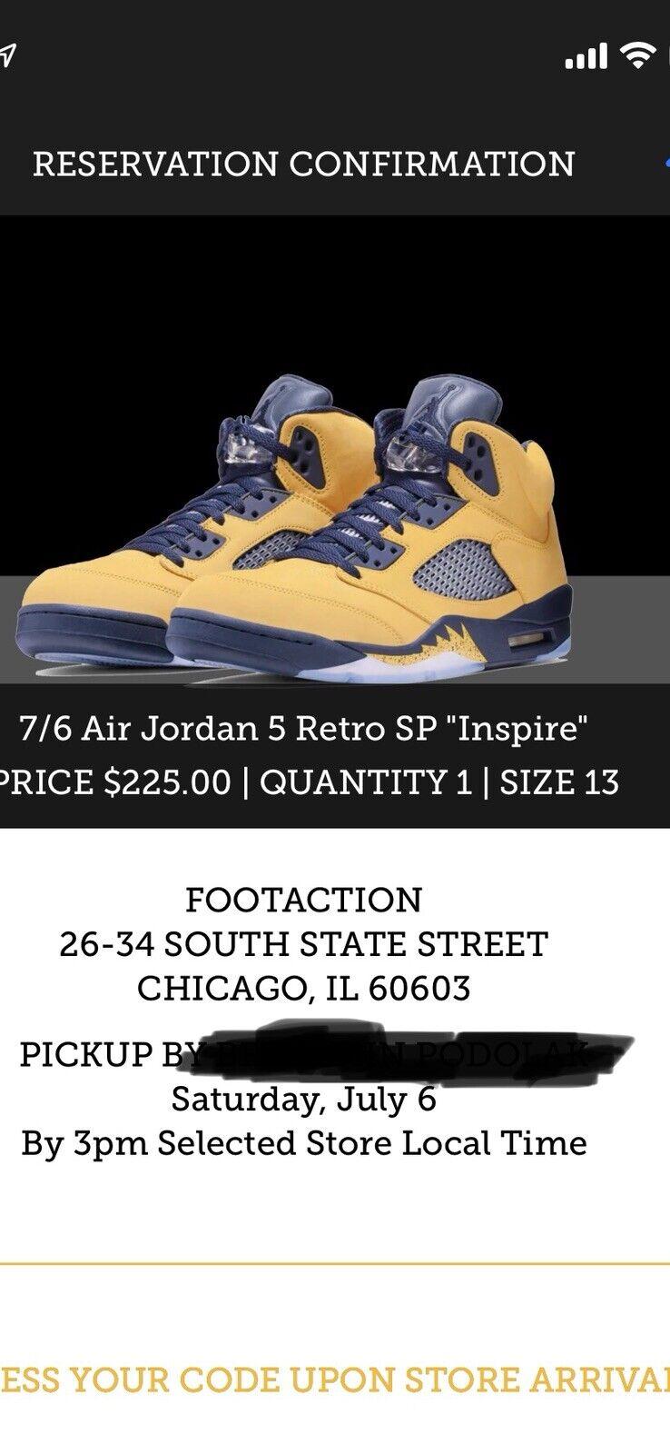 quality design 82b86 af6be Nike Air Jordan 5 V Retro SP Inspire Michigan Amarillo Navy QS Size 10