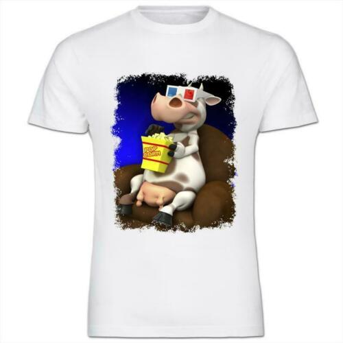 Cow Eating Popcorn /& Watching A Movie Kids Boy Girl T-Shirt