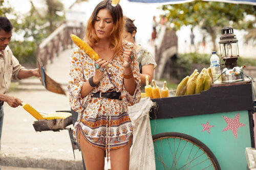 Spell Gypsy amp; People Free Floral Playsuit The Love Orange Romper Blossom Print rwrqOx