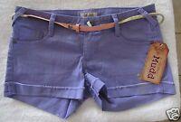 Mudd® Belted Rolled Cuff Shortie Shorts Purple Juniors' Sz. 7 Msrp$32