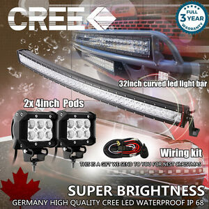 """32 inch Curved LED Light Bar + 2× 4"""" CREE LED Pods Ford Jeep Truck Offroad SUV 3"""