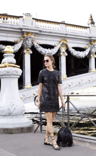 De Vestido De L Bordado Bordado Cuero De Mini Cuero Zara Cuero M Vestido WxX0qgpw78