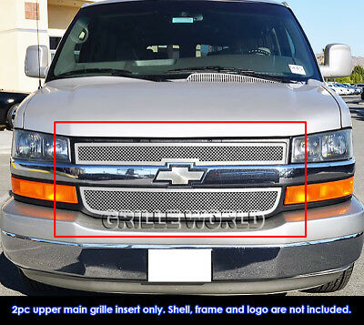 ZMAUTOPARTS For Chevy EXpress Van Upper Stainless Steel Mesh Grille Insert Chrome 2Pcs Set