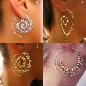 Circulos-de-las-mujeres-ronda-espirales-tribal-aros-aretes-oreja-Stud-joyeria-SE
