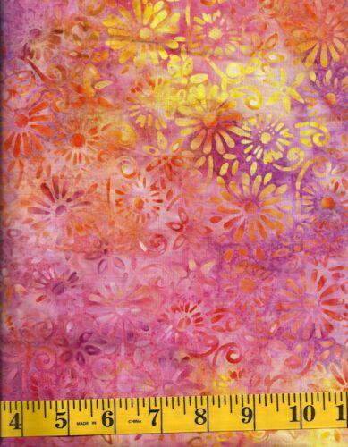 Anthology Batik 14076 Flower Clusters on Purple//Orange//Pink//Yellow by 1//2 yard
