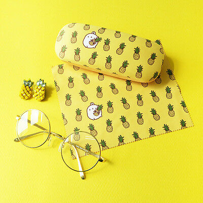 Molang Lovely Cute illust glasses case, eyeglasse cleaner SET - PINEAPPLE