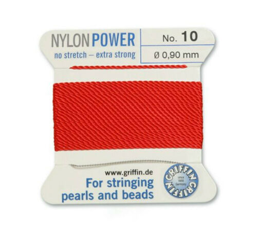 RED NYLON POWER SILKY THREAD 0.90mm STRINGING PEARLS /& BEADS GRIFFIN 10