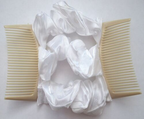 white satin fabric material double elastic stretch hair comb updo bun maker