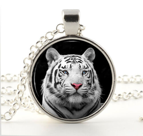 Blanc Argenté Tigre Collier Verre Photo Pendentif Rare Wild Animal Jewelry