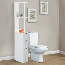Bathroom Cabinet Side Tall Storage Unit Shelf Cupboard White Furniture w/ Drawer