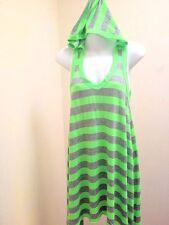 Lagaci M Tunic Dress Green Gray Striped Hooded Asymmetric Hem Coverup Mini