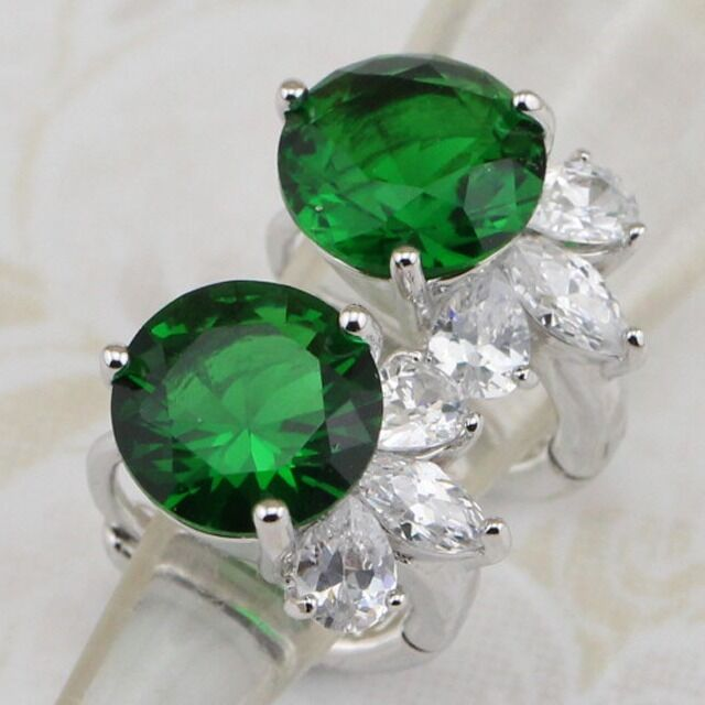 Awesome Green Emerald Stone Jewelry Gold Filled Huggie Woman Gift Earrings H1448