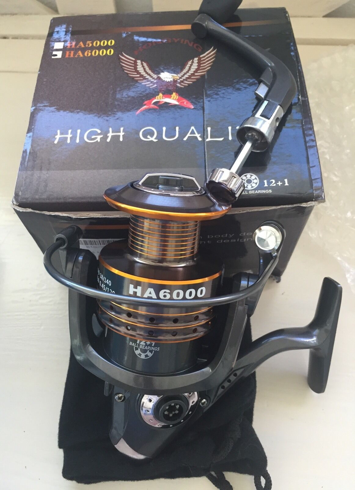 HongYing HA6000 Series Fishing Reel Spinning Freshwater Saltwater with 5.2 1