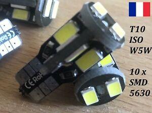 4 x T10 W5W LED 10 x SMD 5630 - 140 Lm Blanc Pur 6500k 12V 1,5 W Compacts ISO